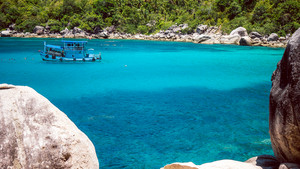 Divers Boat in Mango Bay, Blue Water, Koh Tao, Thailand