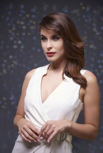 Dressed in elegant white dress