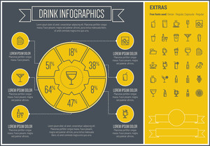 Drink infographic template and elements. The template includes the following set of icons - tea, soda, whisky, cold, refreshment, fruit, orange jiuce and more.