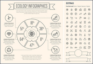 Ecology infographic template and elements. The template includes the following set of icons - solar panel, windmill, pin map, recycling, faucet, apple, garbage bin, sun, propeller, volcano and more. Modern minimalistic flat thin line vector design.