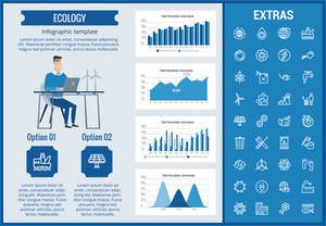 Ecology infographic template, elements and icons. Infograph includes customizable graphs, charts, line icon set with resources of green energy, environmental cycle, water and sun power, factory etc.