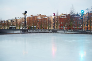 Empty skating rink in urban environment
