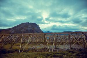 Empty wooden rack for drying fish, Lofoten islands, Norway