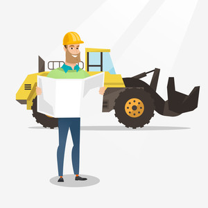 Engineer watching a blueprint at construction site. Engineer with blueprint standing on the background of excavator. Engineer holding blueprint. Vector flat design illustration. Square layout.
