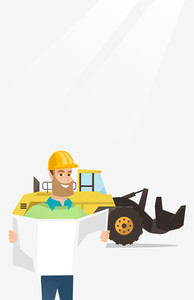 Engineer watching a blueprint at construction site. Engineer with blueprint standing on the background of excavator. Engineer holding blueprint. Vector flat design illustration. Vertical layout.