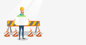 Engineer watching a blueprint at construction site. Engineer with blueprint standing on the background of road barriers. Engineer holding blueprint. Vector flat design illustration. Horizontal layout.