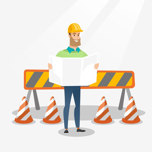Engineer watching a blueprint at construction site. Engineer with blueprint standing on the background of road barriers. Engineer holding blueprint. Vector flat design illustration. Square layout.