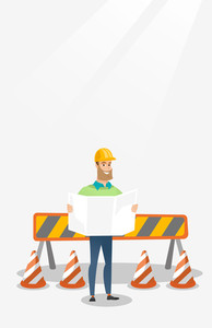Engineer watching a blueprint at construction site. Engineer with blueprint standing on the background of road barriers. Engineer holding blueprint. Vector flat design illustration. Vertical layout.