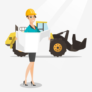 Engineer watching a blueprint at construction site. Engineer with engineer blueprint standing on the background of excavator. Engineer holding blueprint. Vector flat design illustration. Square layout