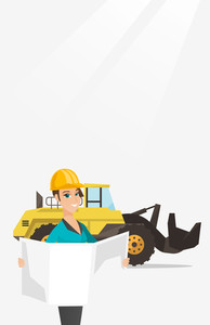 Engineer watching blueprint at construction site. Engineer with engineer blueprint standing on the background of excavator. Engineer holding blueprint. Vector flat design illustration. Vertical layout