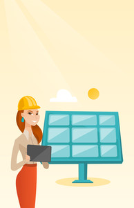 Engineer working on digital tablet at solar power plant. Caucasian female worker of solar power plant. Engineer in hard hat checking solar panel setup. Vector flat design illustration. Vertical layout