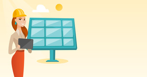 Engineer working on tablet at solar power plant. Caucasian female worker of solar power plant. Engineer in hard hat checking solar panel setup. Vector flat design illustration. Horizontal layout.