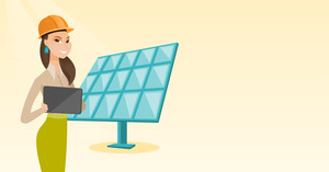 Engineer working on tablet at solar power plant. Worker with tablet computer at solar power plant. Worker in hard hat checking solar panel setup. Vector flat design illustration. Horizontal layout.