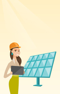 Engineer working on tablet at solar power plant. Worker with tablet computer at solar power plant. Worker in hard hat checking solar panel setup. Vector flat design illustration. Vertical layout.
