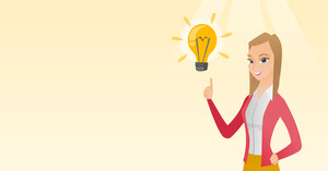 Excited caucasian business woman pointing finger up at bright idea light bulb. Business woman having a great idea. Concept of creative business idea. Vector flat design illustration. Horizontal layout