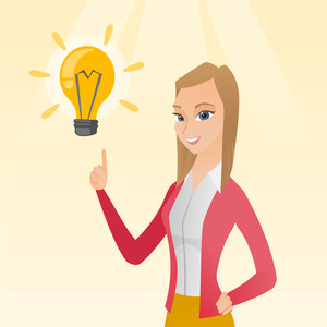 Excited caucasian business woman pointing finger up at bright idea light bulb. Business woman having a great idea. Concept of creative business idea. Vector flat design illustration. Square layout.