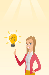 Excited caucasian business woman pointing finger up at bright idea light bulb. Business woman having a great idea. Concept of creative business idea. Vector flat design illustration. Vertical layout.