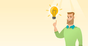Excited caucasian businessman pointing finger up at bright idea light bulb. Happy businessman having a great idea. Concept of creative business idea. Vector flat design illustration. Horizontal layout