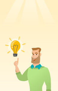 Excited caucasian businessman pointing finger up at bright idea light bulb. Happy businessman having a great idea. Concept of creative business idea. Vector flat design illustration. Vertical layout.