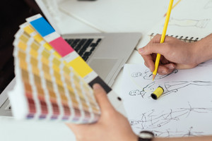 Fashion designer working with color samples