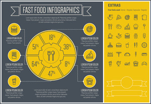 Fast food infographic template and elements. The template includes the following set of icons - noodles, hotdog, barbecue, burger with soda, hot meal, popcorn and more. Modern minimalistic flat thin line vector design.