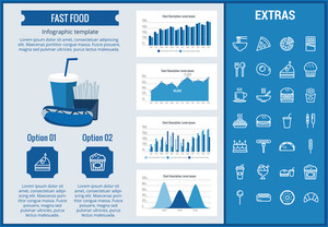 Fast food infographic template, elements and icons. Infograph includes customizable graphs, charts, line icon set with fast food, a piece of pizza, sweet snacks, restaurant meal, unhealthy meal etc.