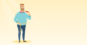 Fat caucasian man with slice of pizza in hand measuring a waistline. Fat man measuring a waistline with tape. Fat man with centimeter on waistline. Vector flat design illustration. Horizontal layout.