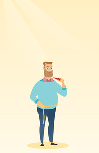 Fat caucasian man with slice of pizza in hand measuring a waistline. Fat man measuring a waistline with tape. Fat man with centimeter on waistline. Vector flat design illustration. Vertical layout.