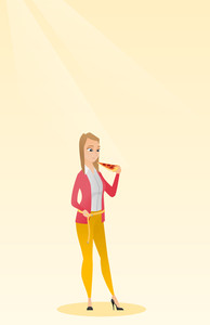 Fat caucasian woman with slice of pizza in hand measuring waistline. Fat woman measuring waistline with tape. Fat woman with centimeter on waistline. Vector flat design illustration. Vertical layout.