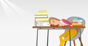 Fatigued student sleeping at the desk with books. Student sleeping after learning. Student sleeping among the books at the table. Education concept. Vector flat design illustration. Horizontal layout.