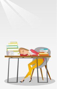 Fatigued student sleeping at the desk with books. Tired student sleeping after learning. Girl sleeping among the books at the table. Education concept. Vector flat design illustration. Vertical layout