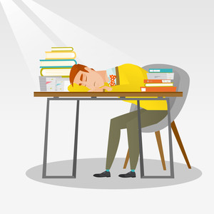 Fatigued student sleeping at the desk with books. Tired student sleeping after learning. Man sleeping among the books at the table. Education concept. Vector flat design illustration. Square layout.