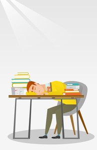 Fatigued student sleeping at the desk with books. Tired student sleeping after learning. Man sleeping among the books at the table. Education concept. Vector flat design illustration. Vertical layout.