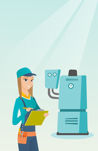 Female caucasian plumber making some notes in her clipboard. Plumber inspecting heating system in boiler room. Female plumber in overalls at work. Vector flat design illustration. Vertical layout.
