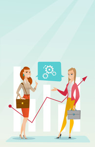 Financiers talking on background of the financial graph. Financiers discussing situation on financial market. Financiers analyzing statistical data. Vector flat design illustration. Vertical layout.