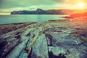 Fjord, rocky beach at magic pink blue sunset, wild nature Norway. Senja island. Beautiful bay. Picturesque sunset