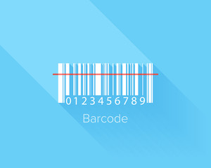 Flat design concept of barcode with long shadow.