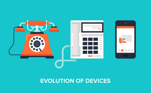 Flat vector illustration of evolution of communication devices from classic phone to modern mobile phone.