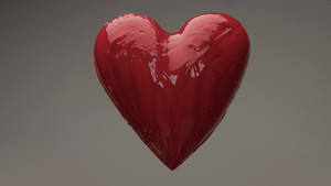 flying red wet heart in air with red transparent liquid covered it and pouring on it. St. Valentine's day heart