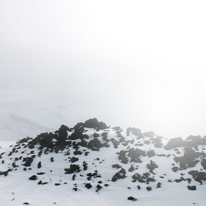 foggy mystery landscape of place near volcano