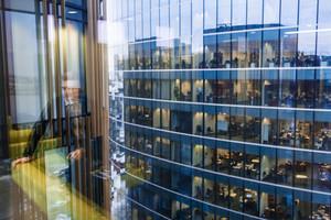 Fragment of several floors of modern office center