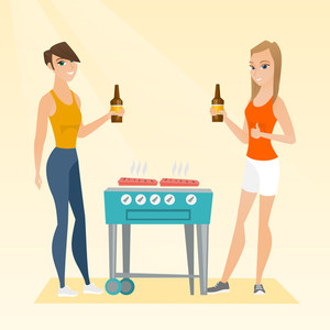 Friends preparing barbecue and drinking beer. Group of friends having fun at a barbecue party. Smiling caucasian female friends having a barbecue party. Vector flat design illustration. Square layout.