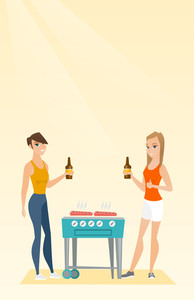 Friends preparing barbecue and drinking beer. Group of friends having fun at a barbecue party. Smiling caucasian friends having a barbecue party. Vector flat design illustration. Vertical layout.