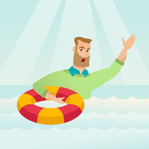 Frightened business man sinking and asking for help. Afraid caucasian business man with lifebuoy sinking and waving. Concept of failure in business. Vector flat design illustration. Square layout.