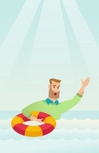 Frightened business man sinking and asking for help. Afraid caucasian business man with lifebuoy sinking and waving. Concept of failure in business. Vector flat design illustration. Vertical layout.