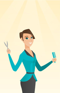 Full length of smiling caucasian hairdresser holding comb and scissors in hands. Young professional hairdresser ready to do a haircut. Vector flat design illustration. Vertical layout.