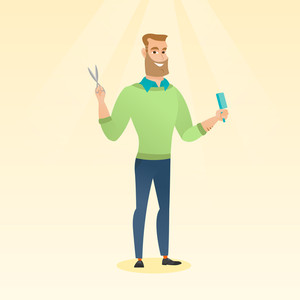 Full length of young hipster barber with beard holding comb and scissors in hands. Professional caucasian barber ready to do a haircut. Vector flat design illustration. Square layout.