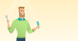 Full length of young smiling hipster barber with the beard holding comb and scissors in hands. Professional caucasian barber ready to do a haircut. Vector flat design illustration. Horizontal layout.