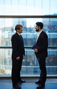 Full-length portrait of confident colleagues in suits gathered together against panoramic window of office lobby and analyzing results of completed work, profile view