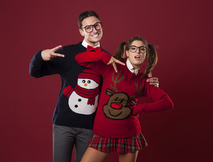 Funny nerd couple pretending to be self-confident